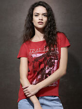 New Style Women Red Printed Boat Neck T-Shirt