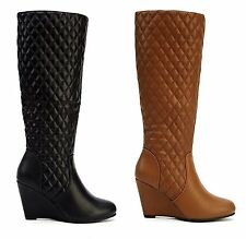 Womens Ladies Leather Style Wedge Heel Zip Up Knee High Black Brown Boots Shoes