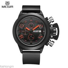 Water Resistant Male Quartz Watch Date Function  Silicone Band Working Sub-dials