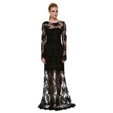 WN Women Sexy Long Sleeve Backless Lace Cocktail Evening Party Long Maxi Dress