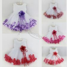 Flower Girl Bridesmaid Rose Petal Dress ALL SIZES Birthday Easter Wedding Party