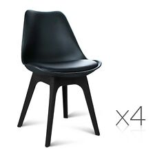 Set of 4 PU Leather Dining Chairs White Black Grey