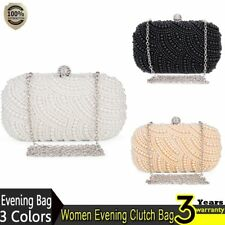 Women Lady Evening Bag Vintage Clutch Beaded Pearl Crystal Party Wedding Bag