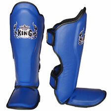 TOP KING GENUINE LEATHER MUAY THAI SHIN GUARDS- TKSGP-BLUE -DURABLE/COMFORTABLE!