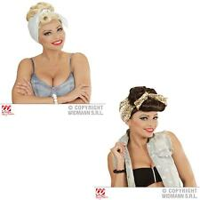 Housewife Rockabilly Fancy Dress 50s 60s Chick Girl Wig with Scarf Rock n Roll F