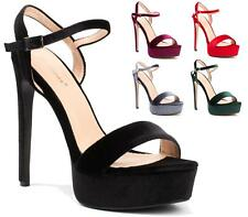 LADIES VELVET ANKLE BUCKLE STRAP PLATFORM CHUNKY HIGH HEEL SANDALS SHOES SIZES