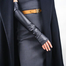 Gothic Fingerless Long Gloves Arm Warmer Black Faux Leather Sun UV Protection