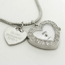 Personalised Watch Charm Bracelet - Engraved Heart Charm - Special Gift