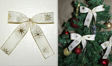 4 BOWS-IVORY-GOLD-STARS-CHRISTMAS TREE,WREATHS,GIFT,PRESENTS DECORATION-HANDMADE