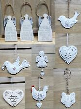 White Metal Wall Hanging Heart Angel Bird Decoration Shabby Chic Gift Wedding