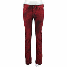 DIESEL BLACK GOLD Red Distressed Slim Fit Jeans