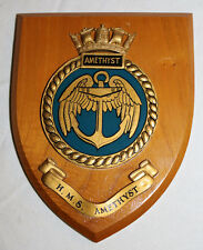 WALL PLAQUE H.M.S. AMETHYST HMS GIEVES BRITISH NAVY LONDON UNITED KINGDON