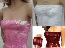 NEW SEXY PARTY CLUBWEAR SEQUIN BOOB TUBE DANCER TOP SKIRT SIZE 6-14