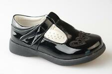 Kids Girls Brand New Black Patent T Bar Slip On touch fastening Shoes 6 - 2
