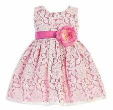 Baby Toddler Kids Girls Floral Fuchsia Dress Pageant Wedding Easter Party M726