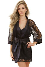 Dreamgirl black stretch lace lingerie robe
