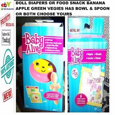 HASBRO BABY ALIVE DIAPERS OR FOOD SNACK BANANA APPLE  HAS BOWL & SPOON OR BOTH
