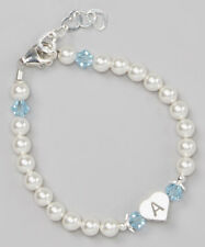 Swarovski White Pearls and Birthstone Crystals with Heart Initial Bracelet