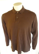 Tommy Bahama Mens Silk Blend Long Sleeve Brown Polo Shirt Size M