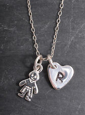 STERLING SILVER LITTLE BOY SON CHARM & PERSONALISED HEART CHAIN NECKLACE 925