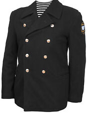 Russian Navy Naval Officer Authentic Military Pea Coat Bushlat Wool New! Peacoat