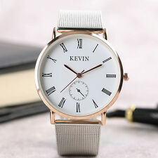 KEVIN Stainless Steel Band Crystal Casual Sport Quartz Wrist Watch Lady Men Gift