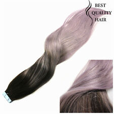 Omber Tape in Human Hair Extensions Remy Hair 40pcs/20pcs Straight 2#gray purple