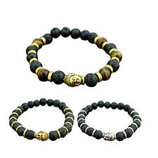 Charming Lava Stone Buddha Beaded Rock Elastic Bracelet Bracelet Bangle