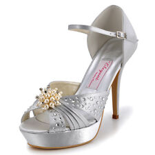 EP11057-PF Pearls Rhinestone Sandals Pleat Satin Peep Toes Buckles Bridal Shoes