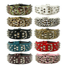 Studded Dog Bully Collar Strong Spiked Tough Thick Durable PU Leather Giant