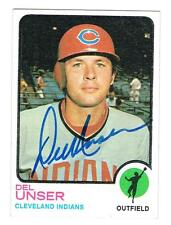 1973 Topps Baseball DEL UNSER autographed card CLEVELAND INDIANS