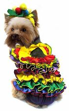 Dog Costume. Fancy Dress. CALYPSO with Fruit Hat!. Blue. NOW PRICE REDUCED