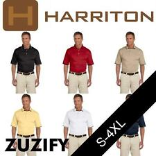 Harriton Mens Cotton Jersey Short-Sleeve Polo Shirt with Tipping. M140