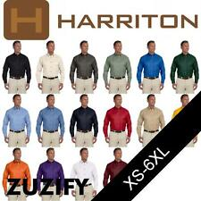 Harriton Mens Long-Sleeve Twill Shirt with Stain-Release. M500