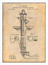1876 Fire & Drinking Hydrant Patent Print Art Drawing Poster 18X24