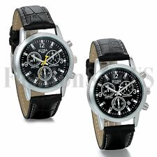Mens Luxury Date Digital Watch Leather Band Military Analog Quartz Sport Watches