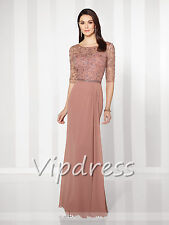 Chiffon Mother Of The Bride Dresses Half Sleeve Lace Appliques Beads Formal Gown