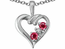 Ruby Diamond Heart Pendant Necklace