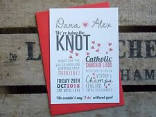 Wedding Invitations 'Tie The Knot' Rustic Style Personalised With Your Colours