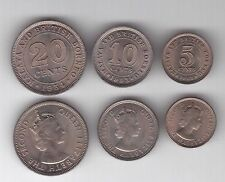 MALAYA AND BRITISH BORNEO - 3 DIF UNC COINS SET: 5 - 20 CENTS 1953-61 YEARS