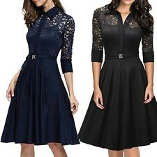 Women's 1950s 3/4 Sleeve Vintage Lace Flare A-line dresses Cocktail Work Dress