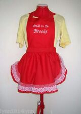 GIRLS FRENCHMAID PERSONALISED APRONS WITH LACE OVER TRIM ALL COLORS