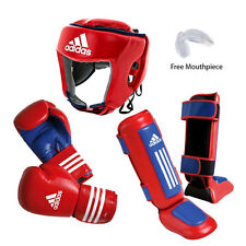 New adidas PRO Thai Boxing Sparring Gear Set Headgear Gloves Shin Instep Guard