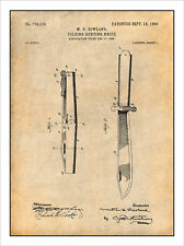 1904 Rowland Folding Hunting Knife Patent Print Art Drawing Poster