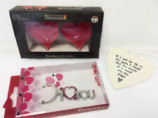 Valentines Set for Her. Heart Candles, Keyring and Heart Plaque Love Pack