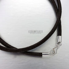 SALE Sterling Silver 3mm Brown Round Genuine Leather Cord Necklace / Bracelet