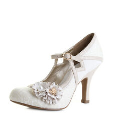 Womens Ruby Shoo Yasmin Cream Court High Heel Wedding Shoes Size