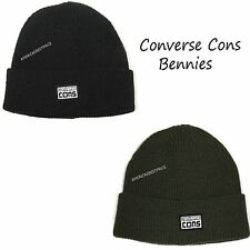 CONVERSE BRAND NEW MENS BEANIE HAT,ONE SIZE FITS MOST,NWT,BLACK & GREEN,WARM