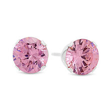 Round Cut Simulated Pink Tourmaline CZ Sterling Silver Stud Earrings