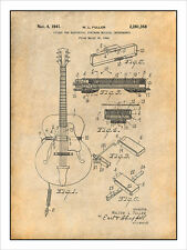 1941 Gibson Guitar Electrical Pickup Patent Print Art Drawing Poster 18X24